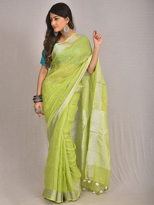 Green Handwoven Linen Saree with Tassels