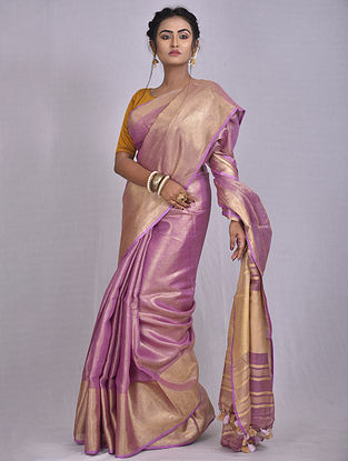 Purple Handwoven Tissue Linen Saree with Tassels