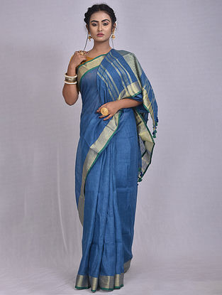 Blue Handwoven Linen Saree with Tassels