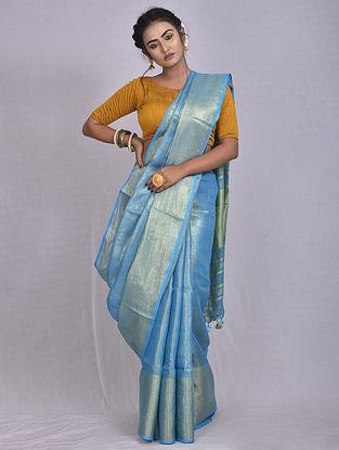 Blue Handwoven Tissue Linen Saree with Tassels