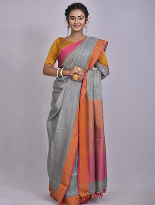 Grey Handwoven Linen Saree with Tassels