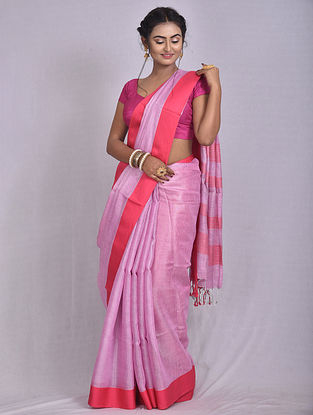 Pink Handwoven Tissue Linen Saree