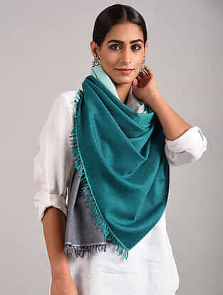 Blue-Grey Handwoven Pashmina Blend Stole