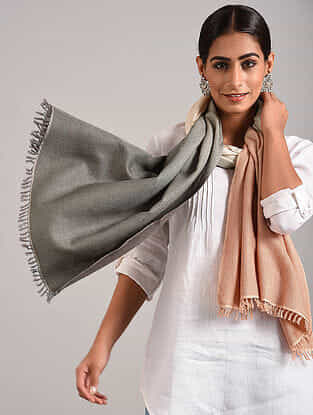 Grey-Beige Handwoven Pashmina Blend Stole