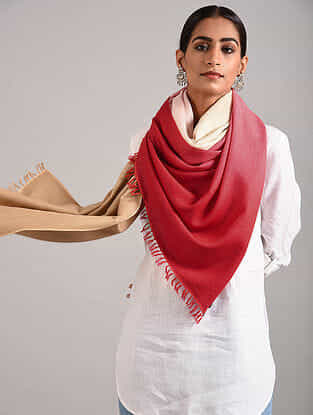 Red-Beige Handwoven Pashmina Blend Stole