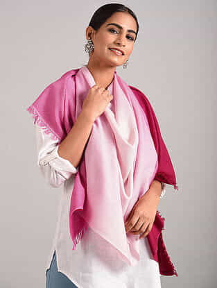Pink-Ivory Handwoven Pashmina Blend Stole