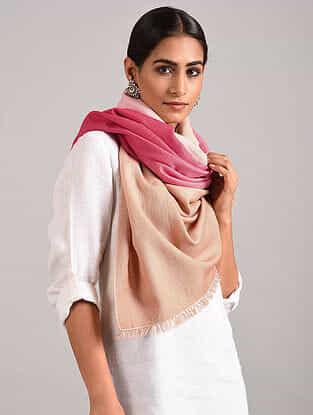 Pink-Beige Handwoven Pashmina Blend Stole