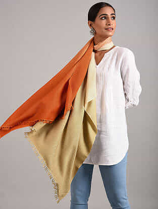 Orange-Ivory Handwoven Pashmina Blend Stole