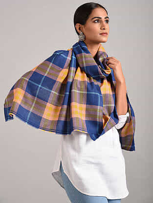 Blue-Yellow Handwoven Pashmina Blend Stole