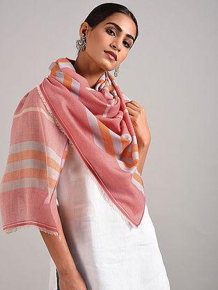 Pink-Orange Handwoven Pashmina Blend Stole
