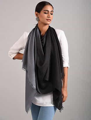 Black-Grey Handwoven Pashmina Silk Stole