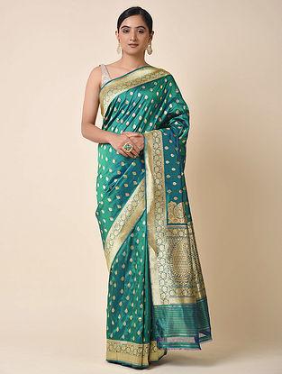 Blue-Green Handwoven Benarasi Silk Saree