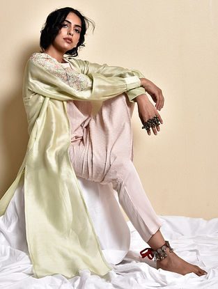 Hara Tvacha Chola in Chanderi with Slip and Pants (Set of 3)