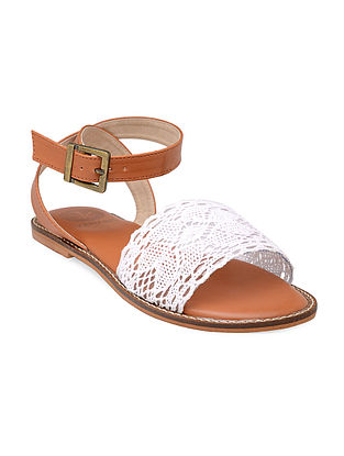 Ivory-Tan Hand-Crafted Lace Sandals