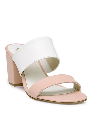 Pink-White Handcrafted Block Heels
