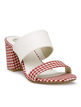 White-Pink Handcrafted Checkered Cotton Block Heels