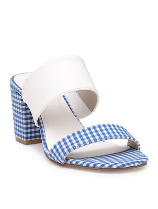 White-Blue Handcrafted Checkered Cotton Block Heels