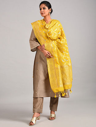 Yellow Handwoven Benarasi Georgette Dupatta