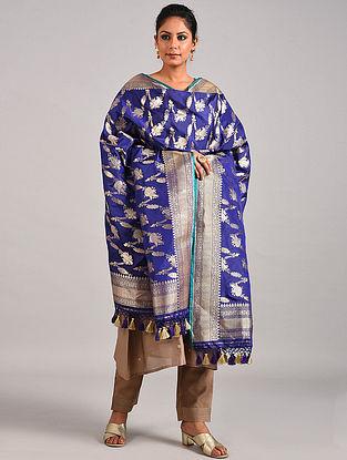 Blue Handwoven Benarasi Katan Silk Dupatta