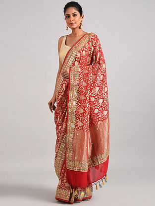 Red Handwoven Benarasi Georgette Saree