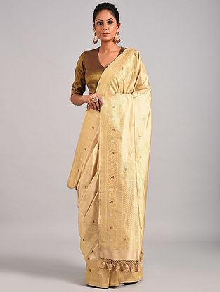 Beige Handwoven Benarasi Katan Silk Saree