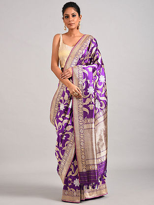 Purple Handwoven Benarasi Katan Silk Saree