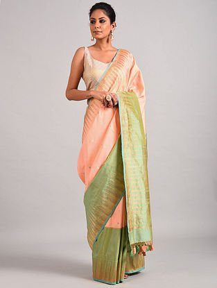 Peach-Green Handwoven Benarasi Katan Silk Saree