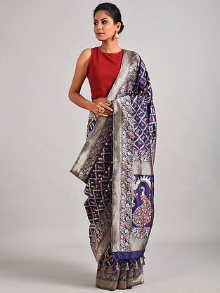 Blue Handwoven Benarasi Katan Silk Saree