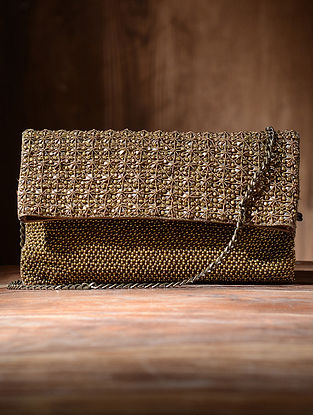 Golden Silk and Leather Clutch with Beads
