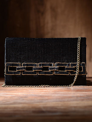 Black Silk and Leather Clutch with Beads