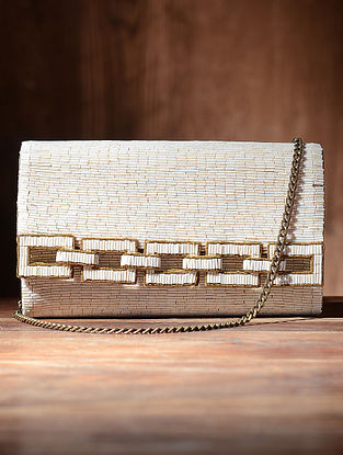 White Silk and Leather Clutch with Beads