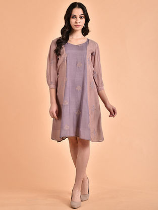 Rose Pink Mauve Embroidered Mul Dress