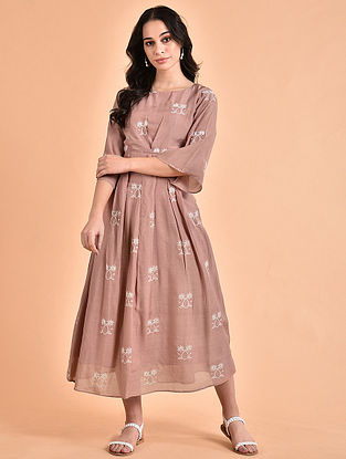 Rose Pink Embroidered Mul Dress with Button Detailing