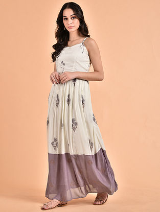 Ivory Mauve Embroidered Mul Maxi with Drawstring