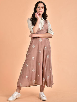 Ivory Rose Pink Embroidered Mul Shirt Dress