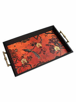 Gulbagh Orange Handmade Wooden and Metal Tray