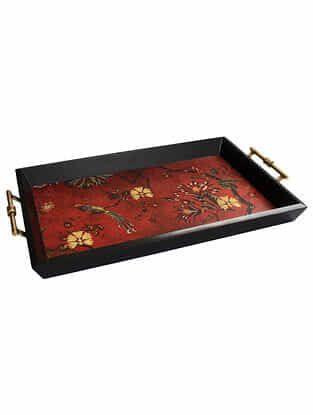 Gulbagh Maroon Handmade Wooden and Metal Tray
