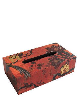 Gulbagh Orange Handmade Wooden Tissue Box (L - 9.5in, W - 5in, H - 3in)
