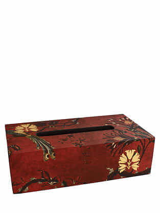 Gulbagh Maroon Handmade Wooden Tissue Box (L - 9.5in, W - 5in, H - 3in)