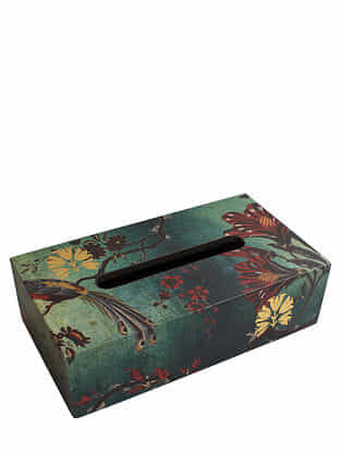 Gulbagh Green Handmade Wooden Tissue Box (L - 9.5in, W - 5in, H - 3in)