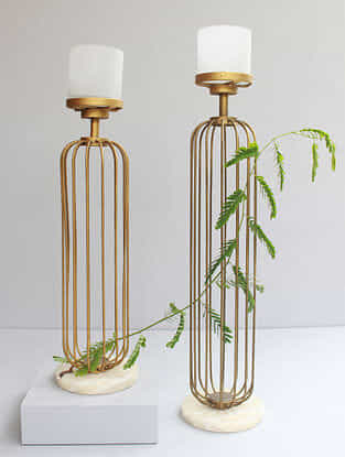 Golden Handmade Iron and frost Glass Cage Candle Stands with Marble Base (Set of 2)