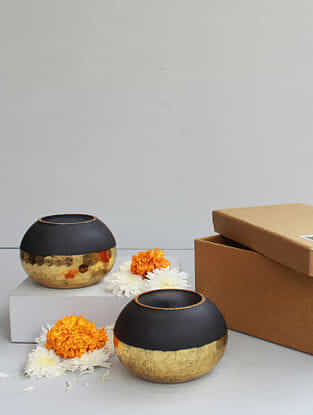 Black and Golden Handmade Frost Glass Bowls with Hammered Finish (Set of 2) (Dia - 5in, H - 3in)