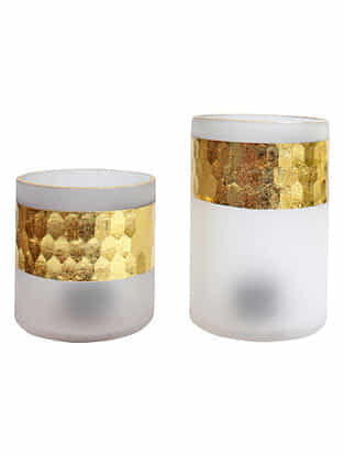 White and Golden Handmade Frost Glass Votives with Hammered Finish (Set Of 2)