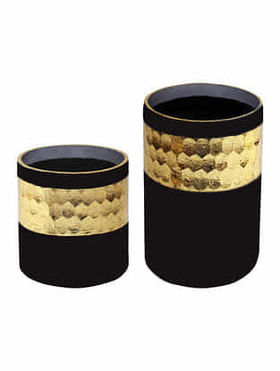 Black and Golden Handmade Frost Glass Votives with Hammered Finish (Set Of 2)