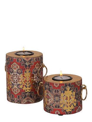 Kama Multicolored Handmade Wooden Candle Holders (Set of 2)
