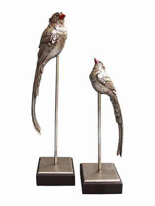 Vintage Silver Handmade Resin and Wooden Birds (Set of 2)