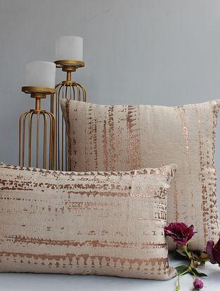 Parijaat Beige and Golden Handmade Linen and Cotton Cushion Cover