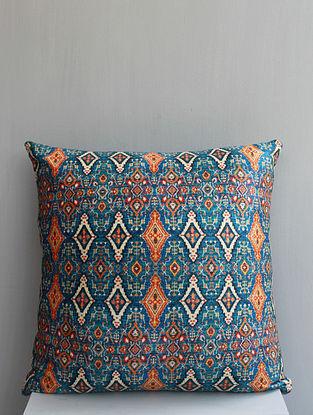 Ocean Blue Multicolored Handmade Velvet Cushion Cover (18in x 18in)