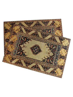 Amrapali Beige-Multicolor Handcrafted Wood Placemats (Set of 6) (18in x 12in)
