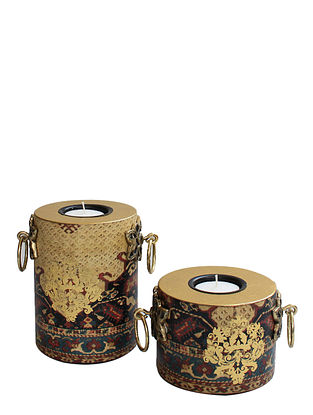Amrapali Gold-Multicolor Handcrafted Wood Tealight Holders (Set of 2)